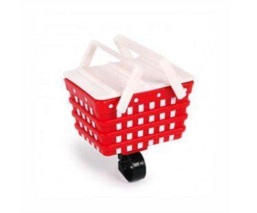 detachable bike basket white red