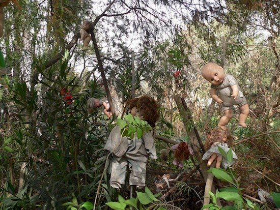 dolls hanging from bushes