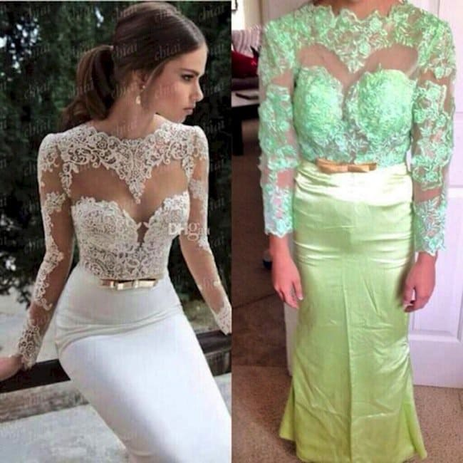 white lace dress expectations vs green fail dress
