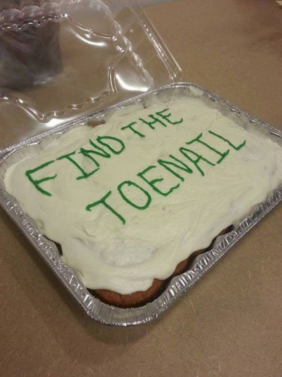 cake with find the toenail written on top of it