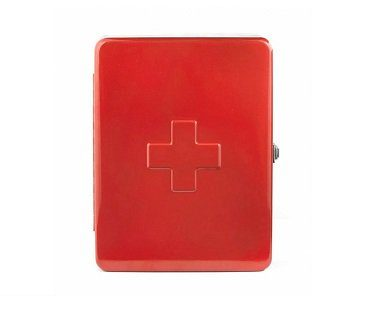 first aid cabinet red