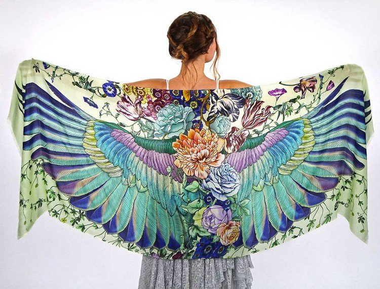 floral winged scarf