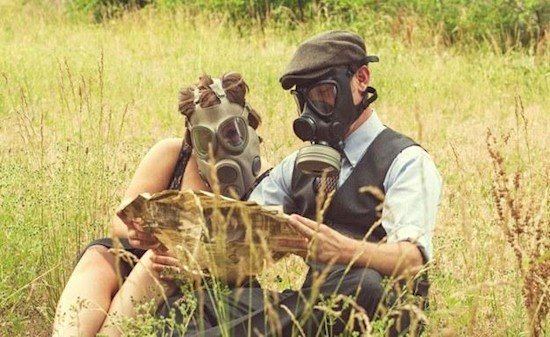 gas mask couple