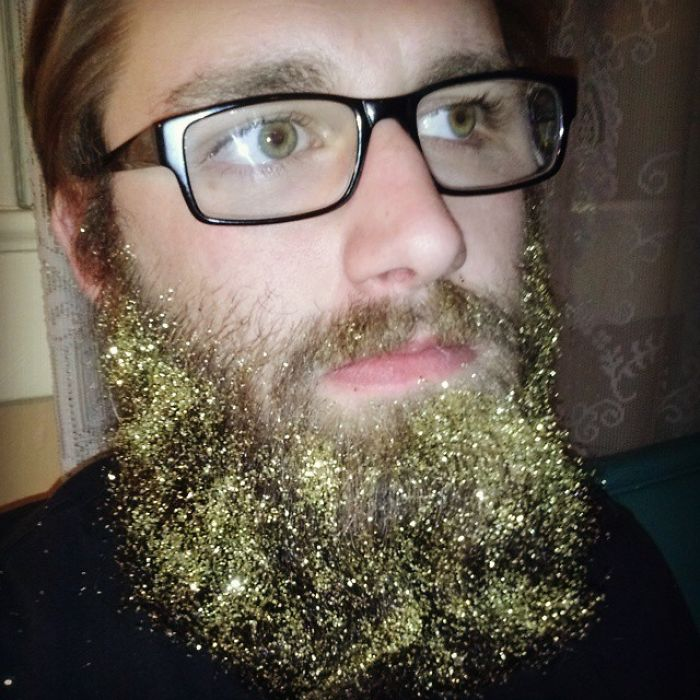 glitter beard glasses