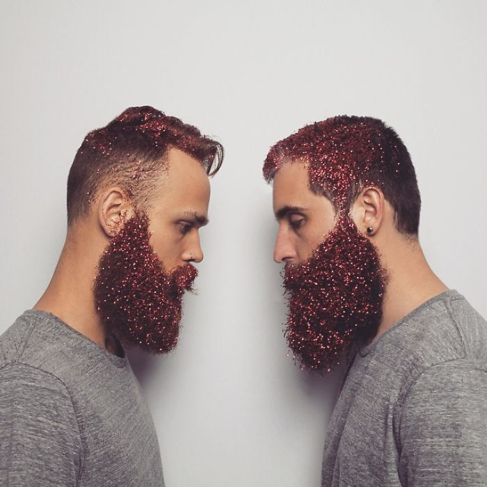glitter beard men facing