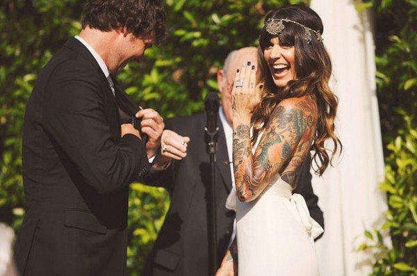 happy bride sleeve tattoo