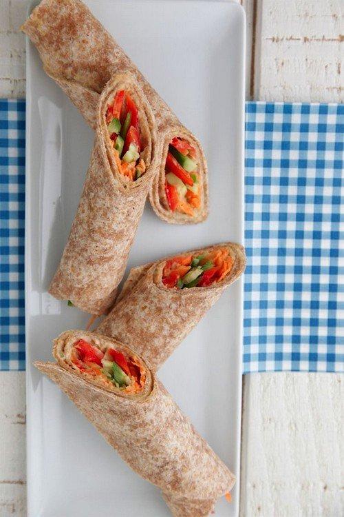 hummus veggie wraps
