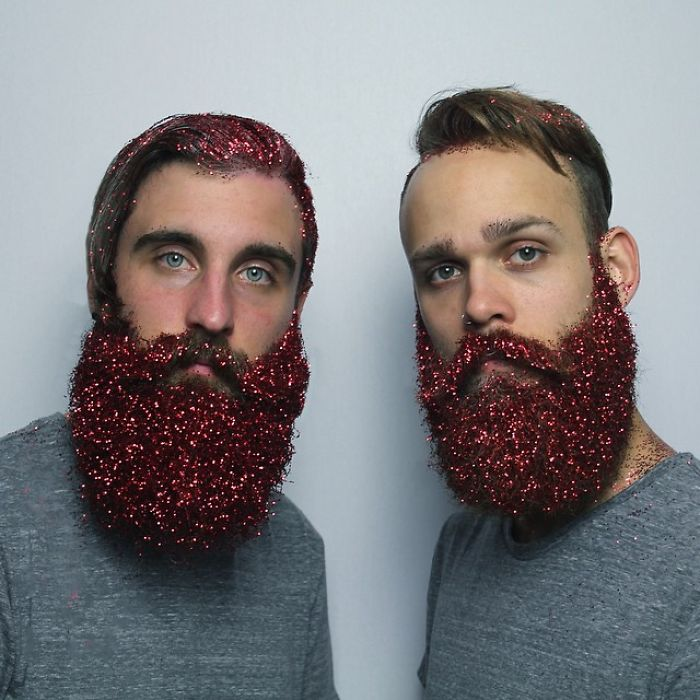 men red glitter beards