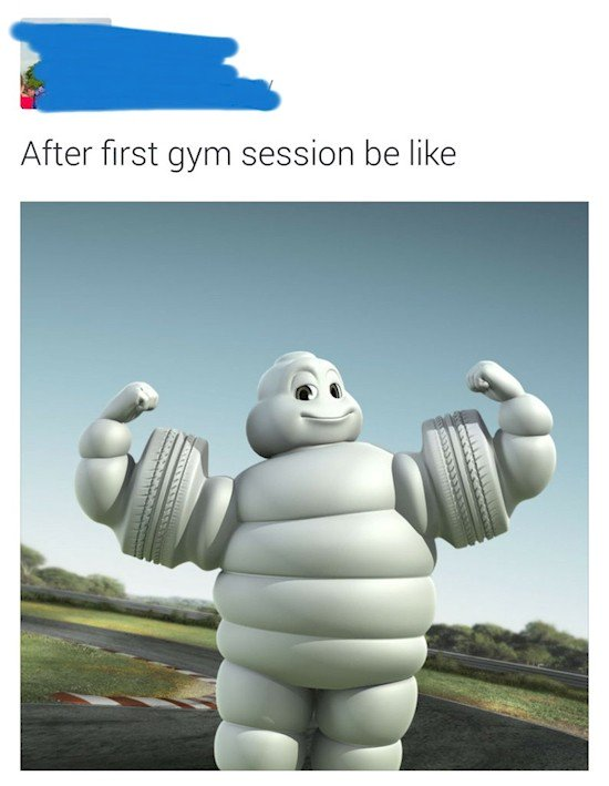 michelin man gym session