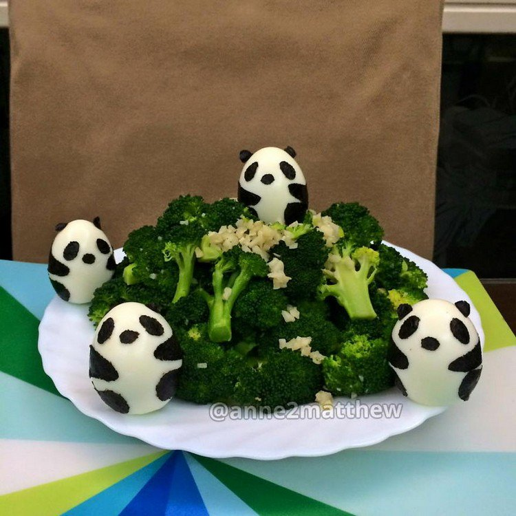 pandas in broccoli forest