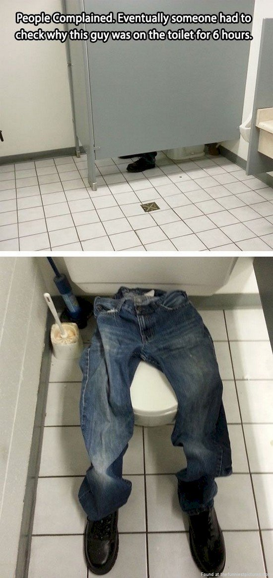 pants and shoes placed on a toilet to look like someone is using it prank