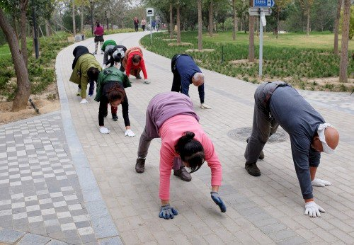 people walking all fours