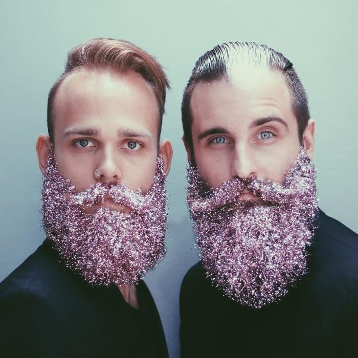 pink glitter beards men