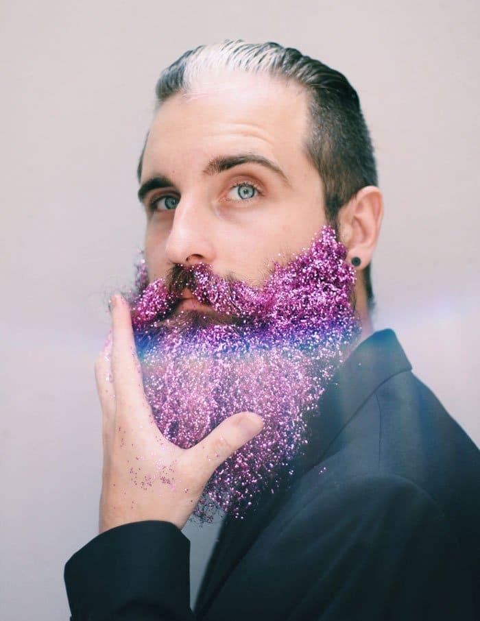 pink glittery beard man