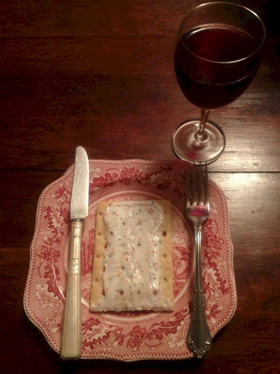 pop tart and wine