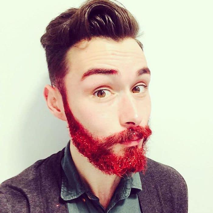 red glitter beard