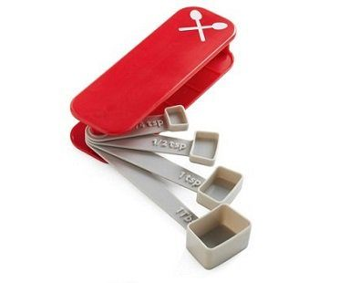 swiss measuring spoons red