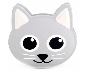 talking cat bag clip grey