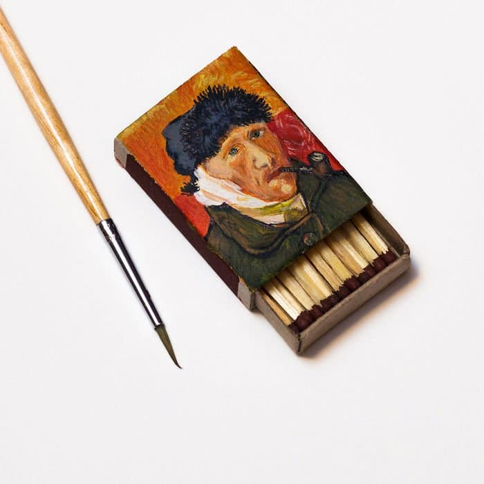 van-gogh-paintings-on-matchboxes-bandaged-ear