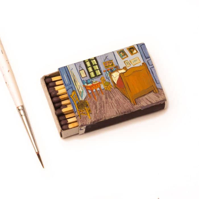 van-gogh-paintings-on-matchboxes-bedroom