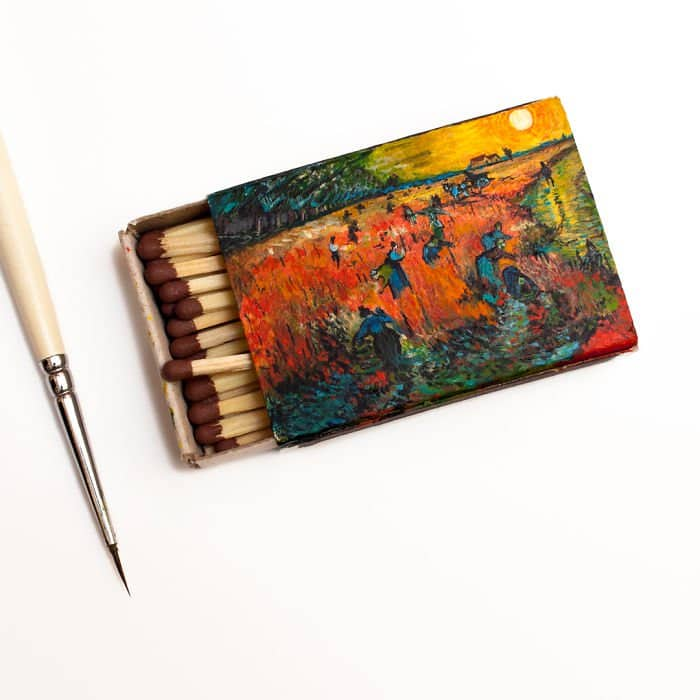 van-gogh-paintings-on-matchboxes-red-vineyards
