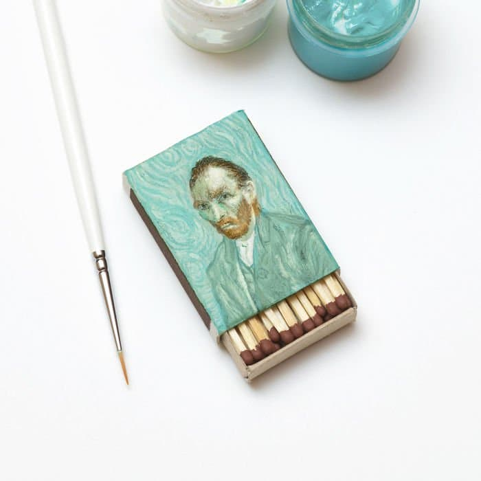 van-gogh-paintings-on-matchboxes-self-portrait
