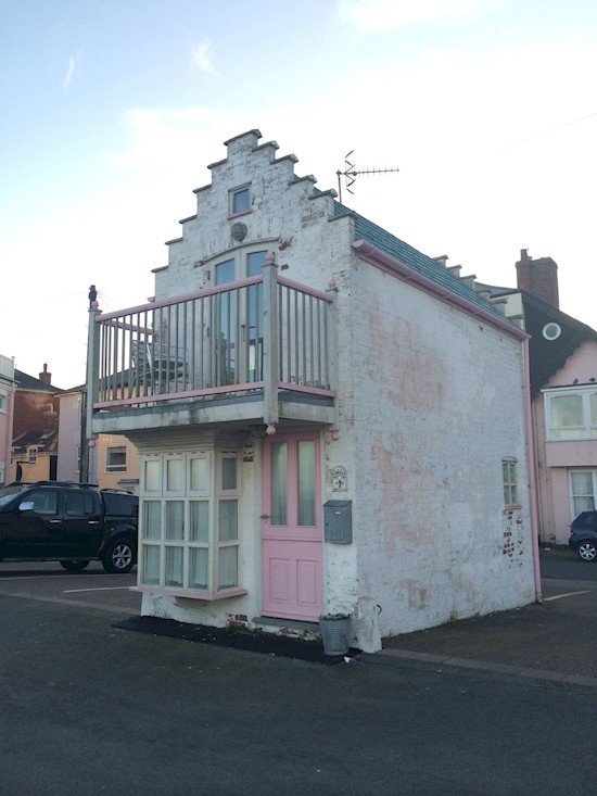 white pink tiny house