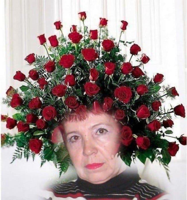 woman roses head