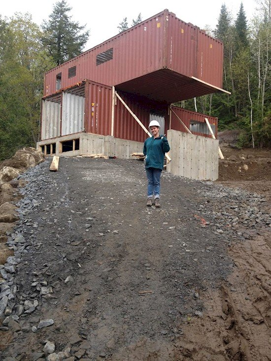 woman shipping containers