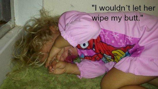 wont wipe butt