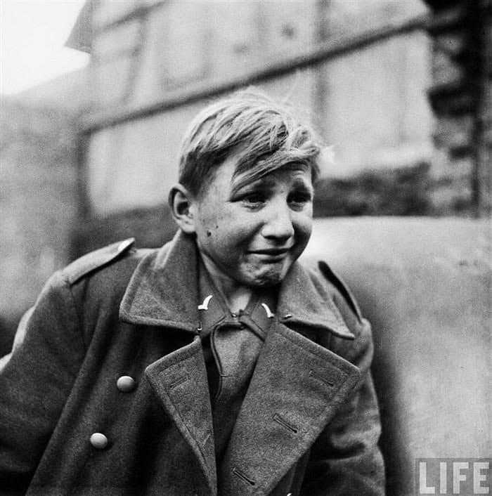 young german soldier crying
