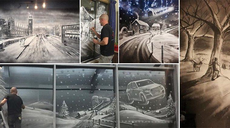 Christmas Snow Spray Window Art