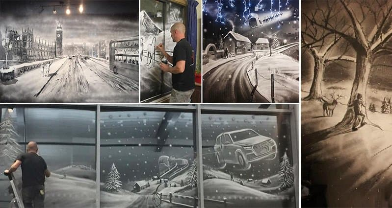 Christmas Snow Spray Window Art