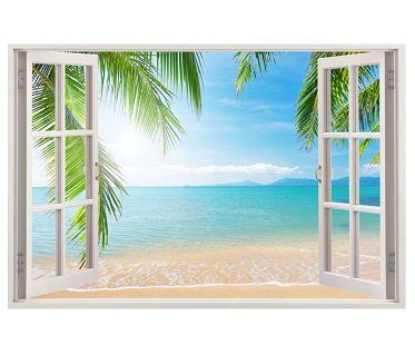Paradise Beach Wall Sticker window