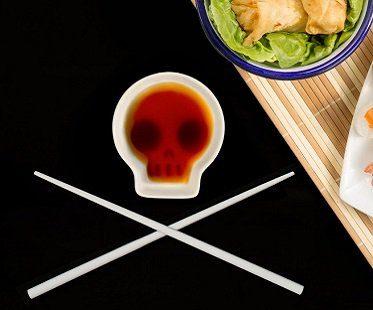 Skull Soy Dish And Chopsticks