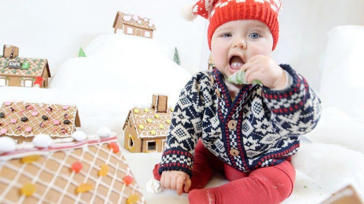 baby eating gingerbread