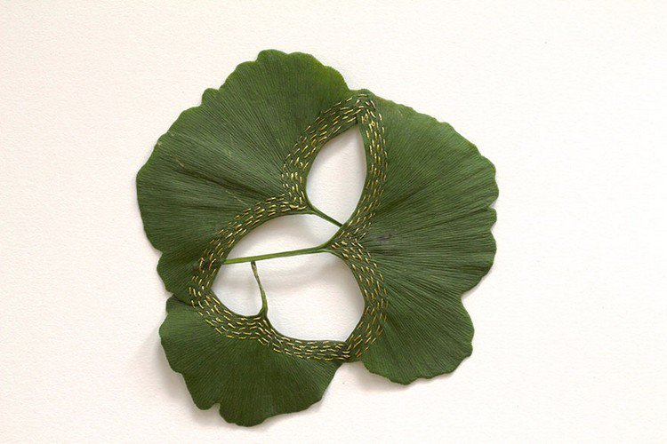 beautiful embroidered leaf art