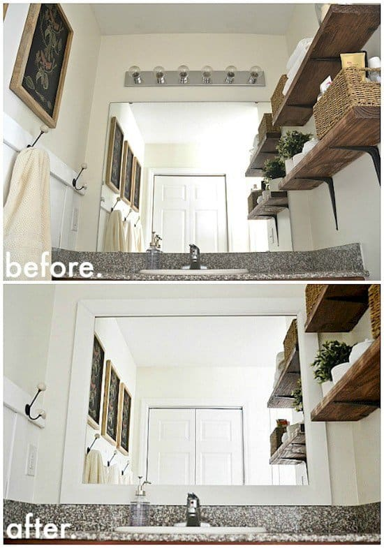 before after framed mirror