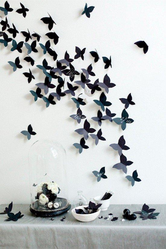 black paper butterflies