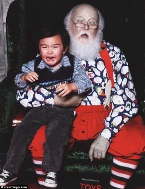 boy crying santa