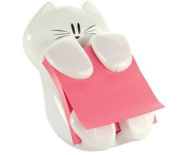 cat sticky note dispenser white