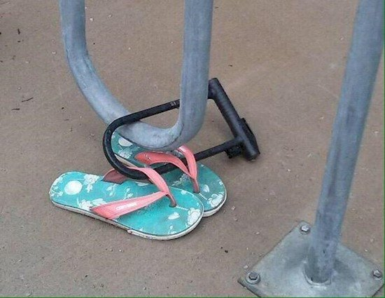 chained up flip flops