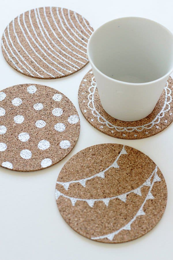 cork coasters patterned