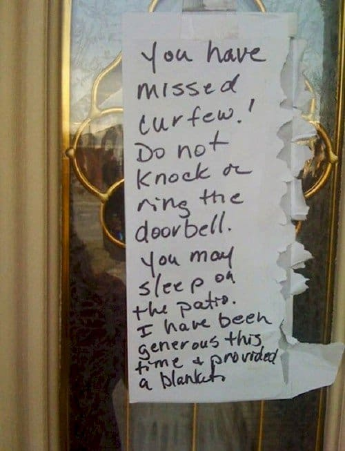 door curfew note