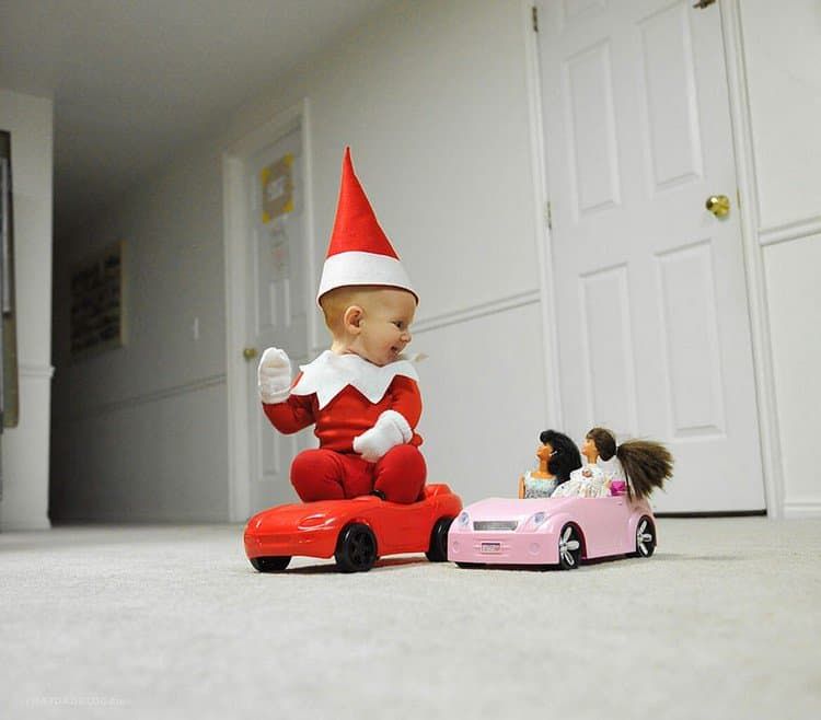 elf dolls car