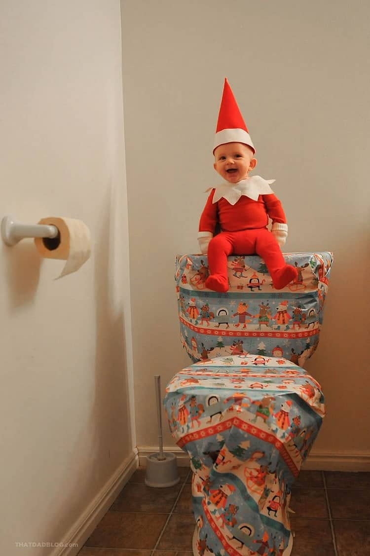 elf gift wrapped toilet