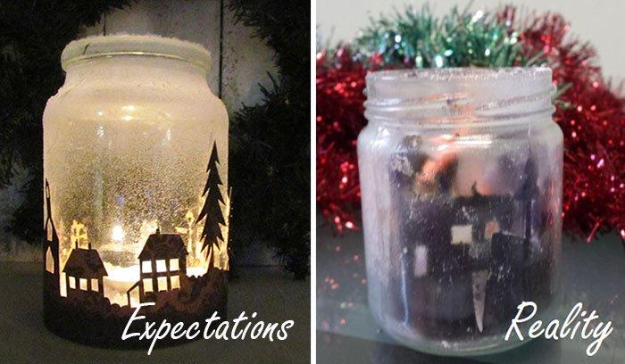 festive candle jar