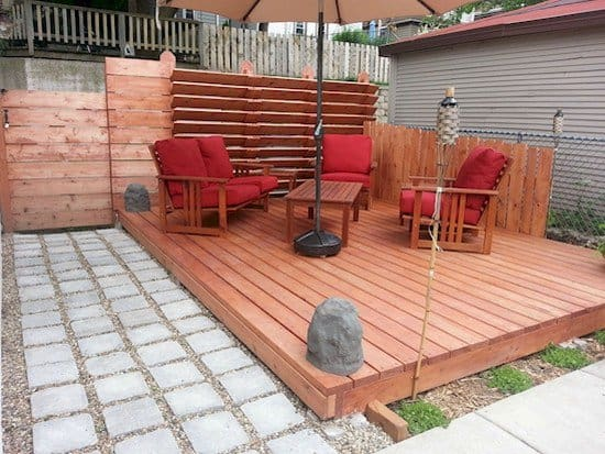 furniture on decking