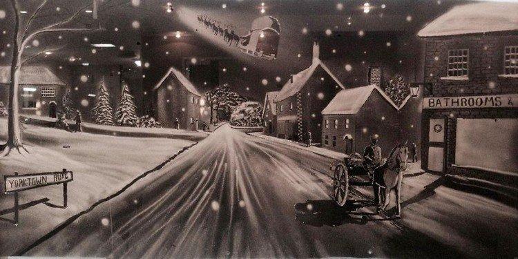 horse cart snow scene