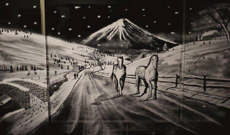 horses snow scene